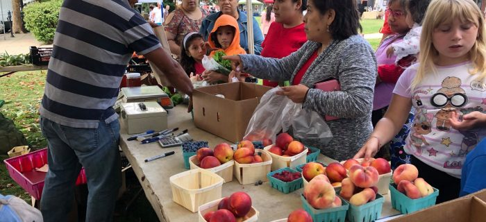 Customers buying peaches