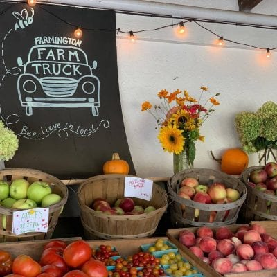 produce on display at farmstand